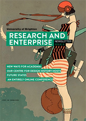 Front cover of Research and Enterprise newsletter issue 9, Spring 2020, with feature image of 1920s magazine cover
