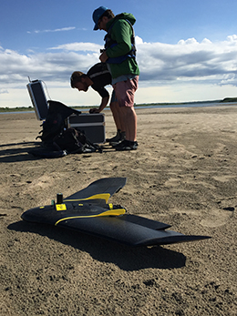 chool of Environment and Technology Research Officers Rob Strick and Chris Simpson using a fixed wing drone to map the dynamics and bed morphology of the South Saskatchewan River, Canada