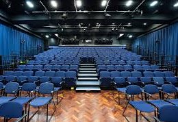 Interior view of the Sallis Benney Theatre from the stage (basically lots of seats)
