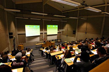 A student's eye view looking down into a lecture theatre