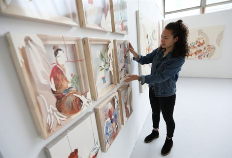 Miranda Forrester with her work