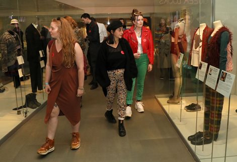 Students on a study visit to the Queer Looks exhibition at Brighton Museum