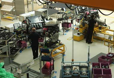 Rolls Royce automotive production line in factory