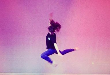 Steph Adams photographed dancing in mid air