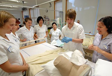 Nursing students in our clinical skills facility
