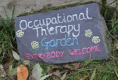 Occupational therapy garden welcome sign