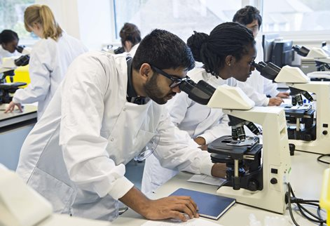 Biomedical science student in lab