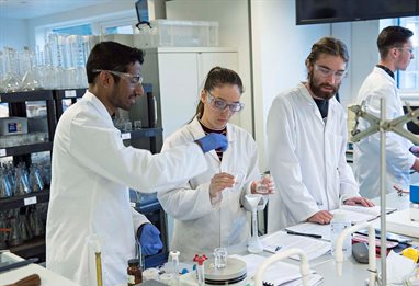 Students conducting group experiments in the lab