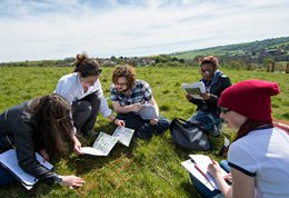 Ecology students on the Sussex Downs