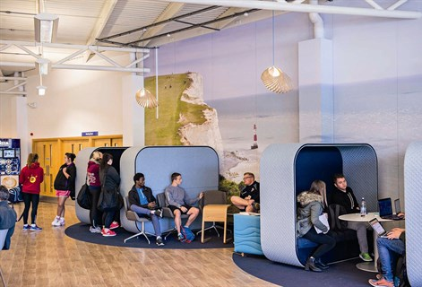 students in the informal learning space at Eastbourne campus