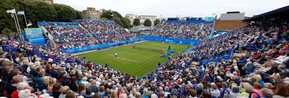 Crowds watching tennis at Eastbourne