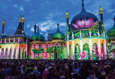 Dr Blighty projection onto the Royal Pavilion