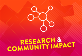 Graphic image with the words Research and community impact