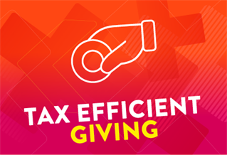 Graphic image with the words Tax efficient giving