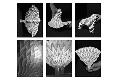 Nine views of a sculpted structure close