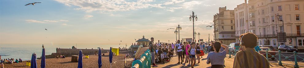 Brighton seafront and promenade in the sunshine