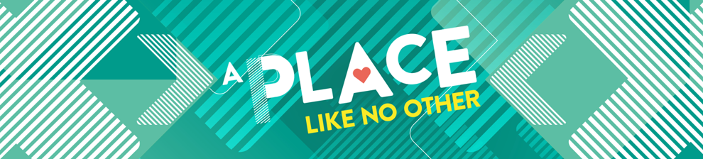 Banner graphic with the text 'A place like no other'