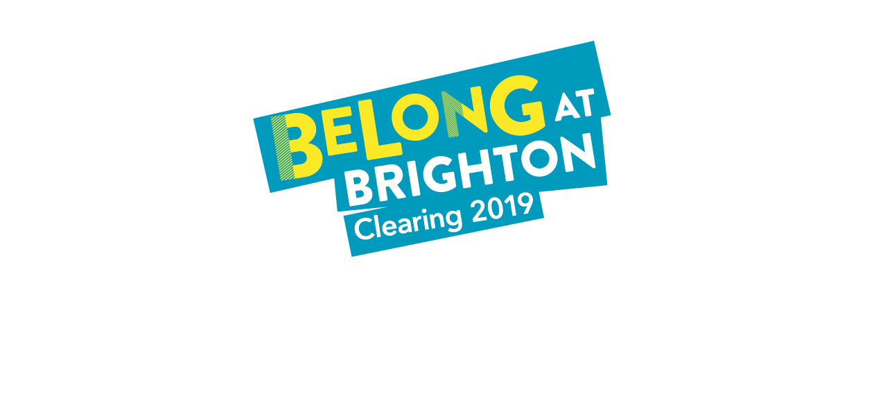 Banner graphic with the text Belong at Brighton, Clearing 2019