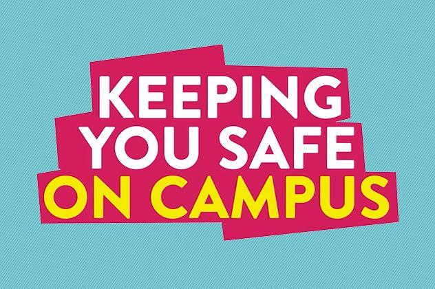 Graphic image with word Keeping you safe on campus