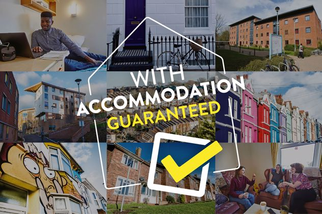 "collage of accommodation images with text overlay of ""With accommodation guaranteed"""