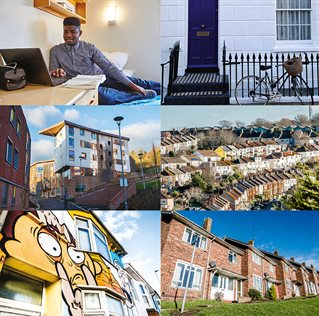 A composite of images related to housing at the university