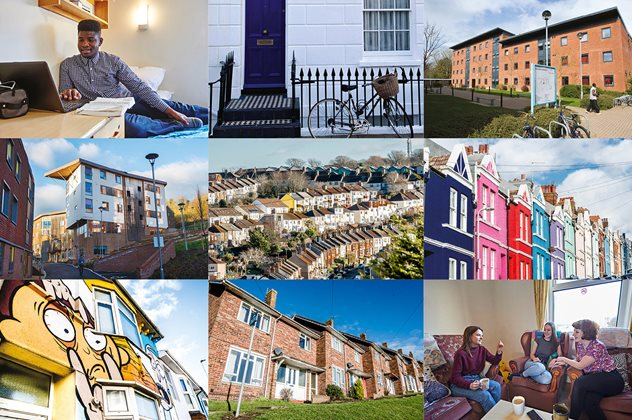 A composite of 9 images related to housing at the university