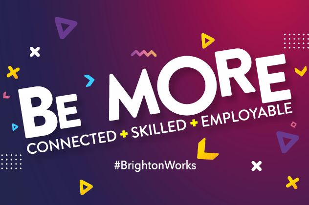 Coloured background with the words Be more, Connected, Skilled, Employable