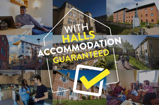 With halls accommodation guaranteed logo
