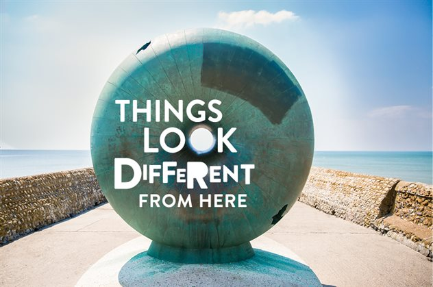 "Image of the Brighton Doughnut with words ""Things look different from here"""