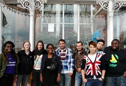 International students outside the Grande Hotel
