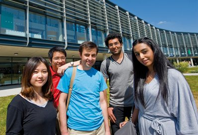 Students outside the language centre at Falmer