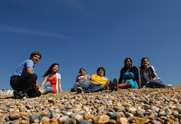 International student group on the beach