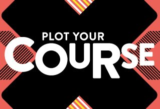 Colourful pattern with the words: plot your course