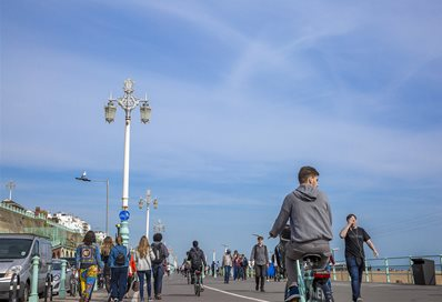Brighton seafront with pedestrians and cyclists