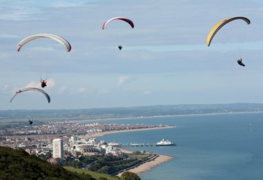 Enjoying sport above Eastbourne