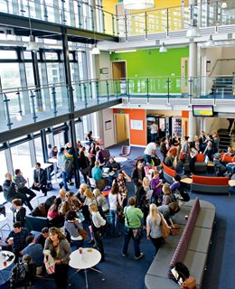 Open day in the foyer of Checkland building at Falmer campus