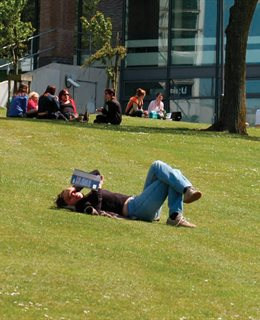 Student laying on the grass at Falmer campus