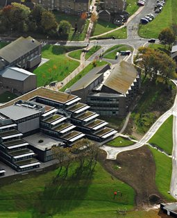 Aerial of Checkland Building at Falmer