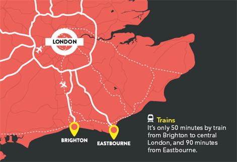 Map showing distance to London from Brighton