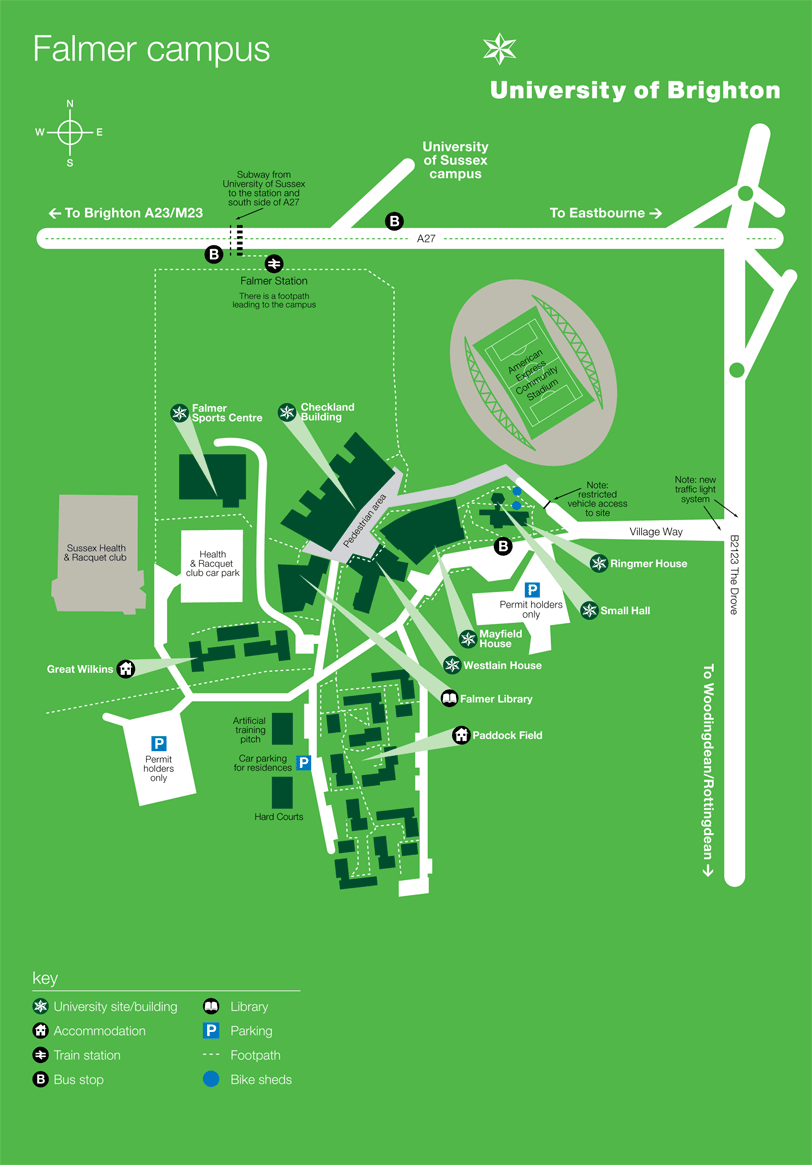Map of the Falmer campus