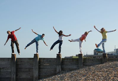 Students on Eastbourne seafront