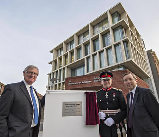 Lord John Mogg, Lord Lieutenant for East Sussex Peter Field, and Professor Julian Crampton