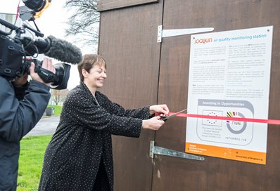 Caroline Lucas opening the air quality monitoring station