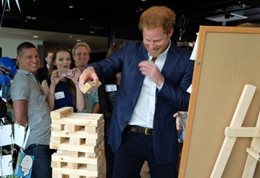 Prince Harry with resilience tower. Picture courtesy of Heads Together