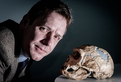 Dr James Cole and skull