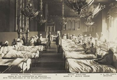 First world war soldiers in the Royal Pavilion. Photo courtesy of the Royal Pavilion & Museums, Brighton & Hove
