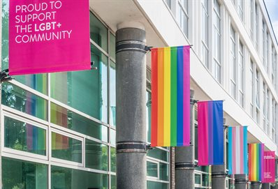 Pride banners outside Grand Parade