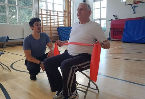 Patients doing exercise for cancer recovery