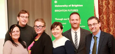 Left to right Dr Mark Devenney, Academic Lead for Radical Futures, Professor Karen Cham, Academic Lead for Connected Futures, Professor Matteo Santin, Academic Lead for Healthy Futures, Susannah Davidson, Knowledge Exchange Manager