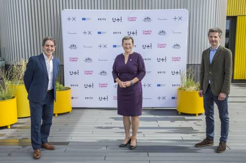 Paul Rostas, Co-CEO Plus X; Professor Debra Humphris, Vice-Chancellor, University of Brighton; Mat Hunter, Co-CEO Plus X